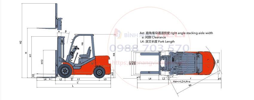 thiết kế xe nâng diesel 3 tấn heli