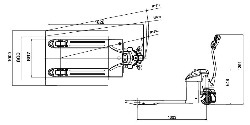 kích thước xe nâng tay CBD15-170H