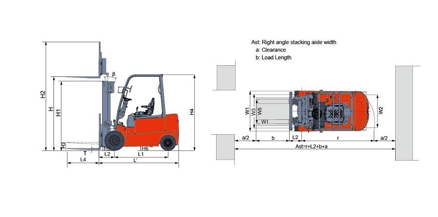 thiết kế xe nâng điện 1.5 tấn heli